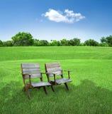 Stühle auf dem Gebiet Stockbild