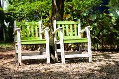 2 Stühle im Garten Stockfotografie