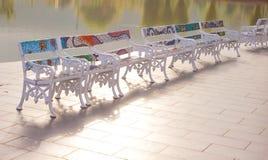Stühle im Garten, Swimmingpool Stockbild
