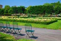 Stühle und Blumen in Volksgarten Stockfotos