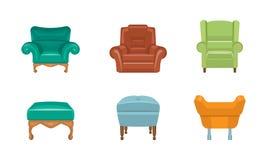 Stühle und Lehnsessel stellten, bunte bequeme Möbelvektor Illustration auf einem weißen Hintergrund ein vektor abbildung