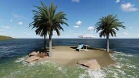 Stühle unter einem Regenschirm am Strand durch sonnigen Tag und Palmen Lizenzfreies Stockbild