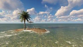 Stühle unter einem Regenschirm am Strand durch sonnigen Tag und Palmen Stockfotografie
