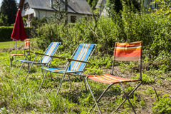Stühle von Zuschauern von Le-Tour de France Lizenzfreie Stockfotos