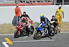 24-stündiges Motorradfahren Katalonien-Spanien Stockfotografie