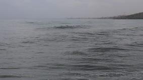 Stürmen Sie auf dem Meer und dem Schwimmer in den Wellen stock video footage