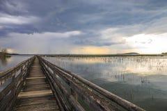 Stürmen Sie das Kommen auf See Trasimeno in Umbrien in Italien Stockfoto