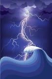 Stürmen Sie im Ozean mit Blitzschlägen und Regen. lizenzfreie abbildung