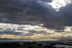 Stürmische Himmel über dem See Leman switzerland Lizenzfreies Stockbild
