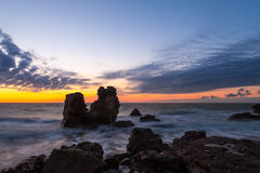 Stürmischer baltischer Sonnenuntergang Stockfotografie