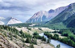 Stürmischer Fluss, der zwischen das Hochgebirge fließt Lizenzfreies Stockbild
