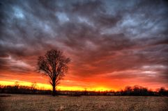 Stürmischer Sonnenuntergang Stockfotos