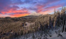 Stürmischer Winter Vista der Berg-Haube in Oregon, USA Stockfotos