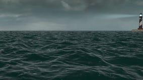 Stürmisches Meer und Leuchtturm stock video footage
