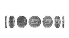 Stürzen Sie die Münze, die von sieben Winkeln gezeigt wird, die auf weißem Hintergrund lokalisiert werden Einfach, bestimmten Mün lizenzfreie abbildung