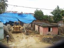 Stürzen Sie durch Sturm in einem armen Viertel von Santo Domingo ein Lizenzfreie Stockfotografie