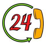 Stützcall-center 24 Stunden Ikonenkarikatur Stockfotos