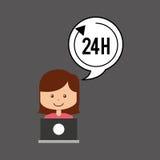Stützen Sie assitance Konzeptmädchen mit 24 Stunden Service Lizenzfreies Stockbild
