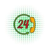 Stützen Sie Call-Center 24 Stunden der Ikone, Comicsart vektor abbildung