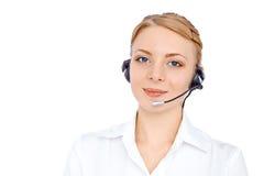 Stützen Sie Telefonbetreiber im Kopfhörer, das blonde Mädchen, lokalisiert Lizenzfreie Stockfotos