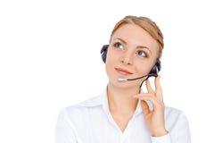 Stützen Sie Telefonbetreiber im Kopfhörer, das blonde Mädchen, lokalisiert Lizenzfreies Stockfoto