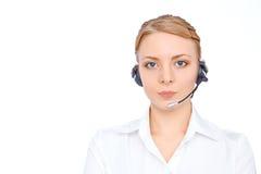 Stützen Sie Telefonbetreiber im Kopfhörer, das blonde Mädchen, lokalisiert Lizenzfreies Stockbild