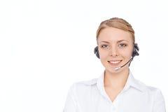Stützen Sie Telefonbetreiber im Kopfhörer, das blonde Mädchen, lokalisiert Stockfoto