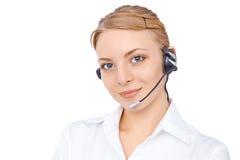 Stützen Sie Telefonbetreiber im Kopfhörer, das blonde Mädchen, lokalisiert Stockfotografie