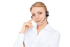 Stützen Sie Telefonbetreiber im Kopfhörer, das blonde solated Mädchen Lizenzfreies Stockfoto