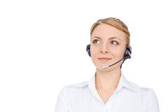 Stützen Sie Telefonbetreiber im Kopfhörer, das blonde solated Mädchen Lizenzfreie Stockfotografie