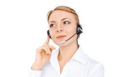 Stützen Sie Telefonbetreiber im Kopfhörer, das blonde solated Mädchen Stockbilder