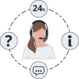 Stützen Sie weibliche weiße Farbe, Service-Ikonen und Kopfhörer Stockbild