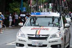 Stützfahrzeug bei Santos Tour Down Under, im Januar 2015 Stockfoto