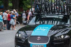 Stützfahrzeug bei Santos Tour Down Under, im Januar 2015 Stockfotografie