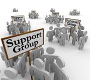 Stützungskonsortium-Leute, die um Zeichen-Hilfstherapie Communica sich treffen stock abbildung