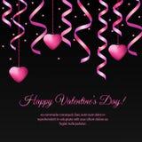 St与桃红色垂悬的飘带和心脏的情人节横幅 库存照片
