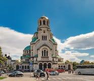 St亚历山大Nevsky大教堂在索非亚,保加利亚 库存照片