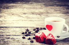St华伦泰的早餐用咖啡和巧克力 图库摄影