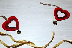 St华伦泰` s天,爱,圣诞节,新年 两红色心脏a 免版税库存图片