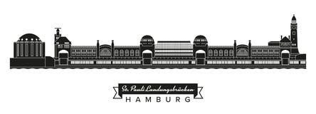 St圣保利队码头和老易北河在汉堡挖洞大厦 免版税库存图片