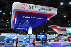 ST工程学陈列的航空解答在新加坡Airshow 库存图片