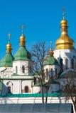 St索非亚的大教堂绿色和金黄圆顶在基辅,乌克兰 图库摄影