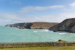 St艾格尼丝海岸视图北部康沃尔郡英国英国 库存图片