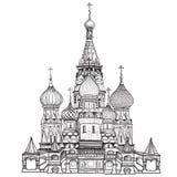 St蓬蒿大教堂,红场,莫斯科,俄罗斯。在白色背景隔绝的传染媒介例证。 免版税库存图片