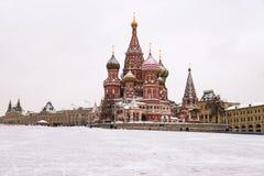 St蓬蒿的大教堂,莫斯科,俄罗斯(冬天视图) 库存照片