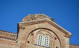 St Łagodny kościół w Ohrid - Święta matka bóg Peribleptos kościół Zdjęcie Stock