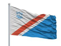 ST Αλβέρτος City Flag On Flagpole, Καναδάς, Αλμπέρτα, που απομονώνεται στο άσπρο υπόβαθρο Ελεύθερη απεικόνιση δικαιώματος