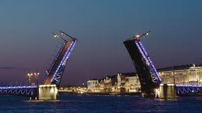 ST ΠΕΤΡΟΥΠΟΛΗ, ΡΩΣΙΑ: Στενός πυροβολισμός της ανοιγμένης γέφυρας παλατιών και των φωτισμένων κτηρίων στη νύχτα απόθεμα βίντεο