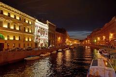 ST Πετρούπολη Άποψη του ποταμού Moika τη νύχτα Στοκ φωτογραφία με δικαίωμα ελεύθερης χρήσης