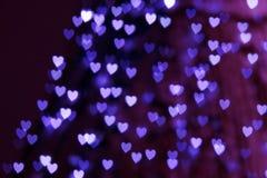 St. Предпосылка bokeh сердца дня Валентайн голубая Стоковые Изображения
